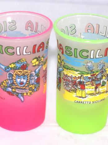 BICCHIERINO VETRO DEC. MULTIVEDUTE SICILIA SAT.+FLUO